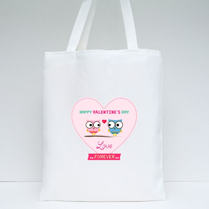 Owl Valentine Day Card Tote Bags