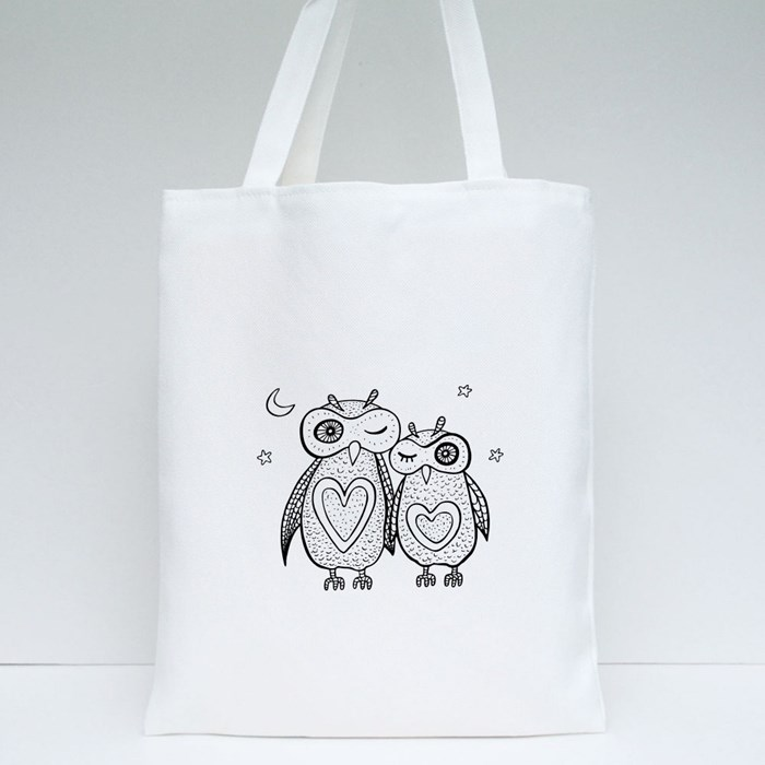 2 Decorative  Owls Tote Bags