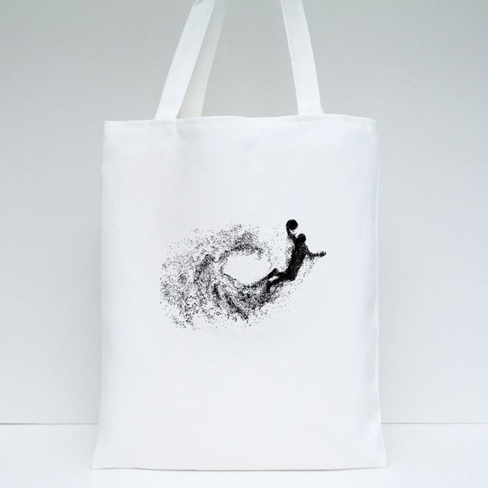 Basketball Player Particles Tote Bags