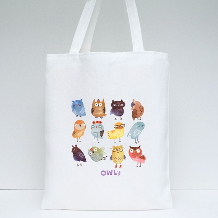 Watercolour Funny Owls Tote Bags