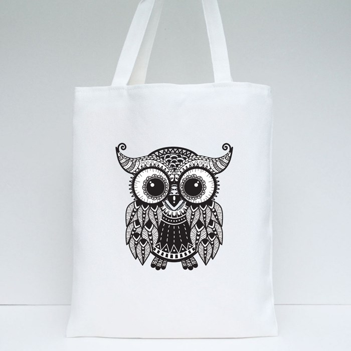 Intricate Owl Design Tote Bags