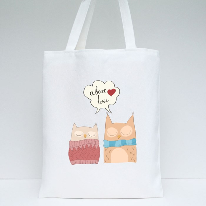 Cute Owls Cetor Illustration Tote Bags