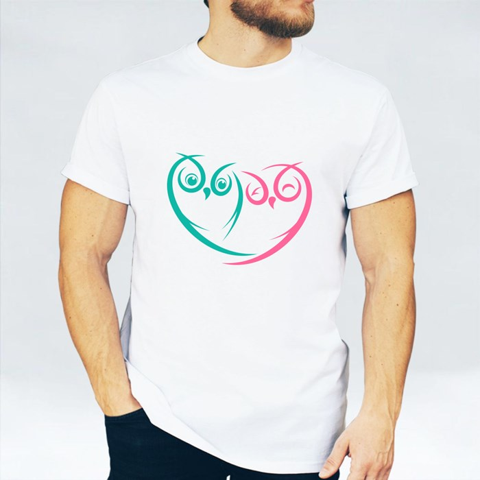 Two Love Owl White Background T-Shirts