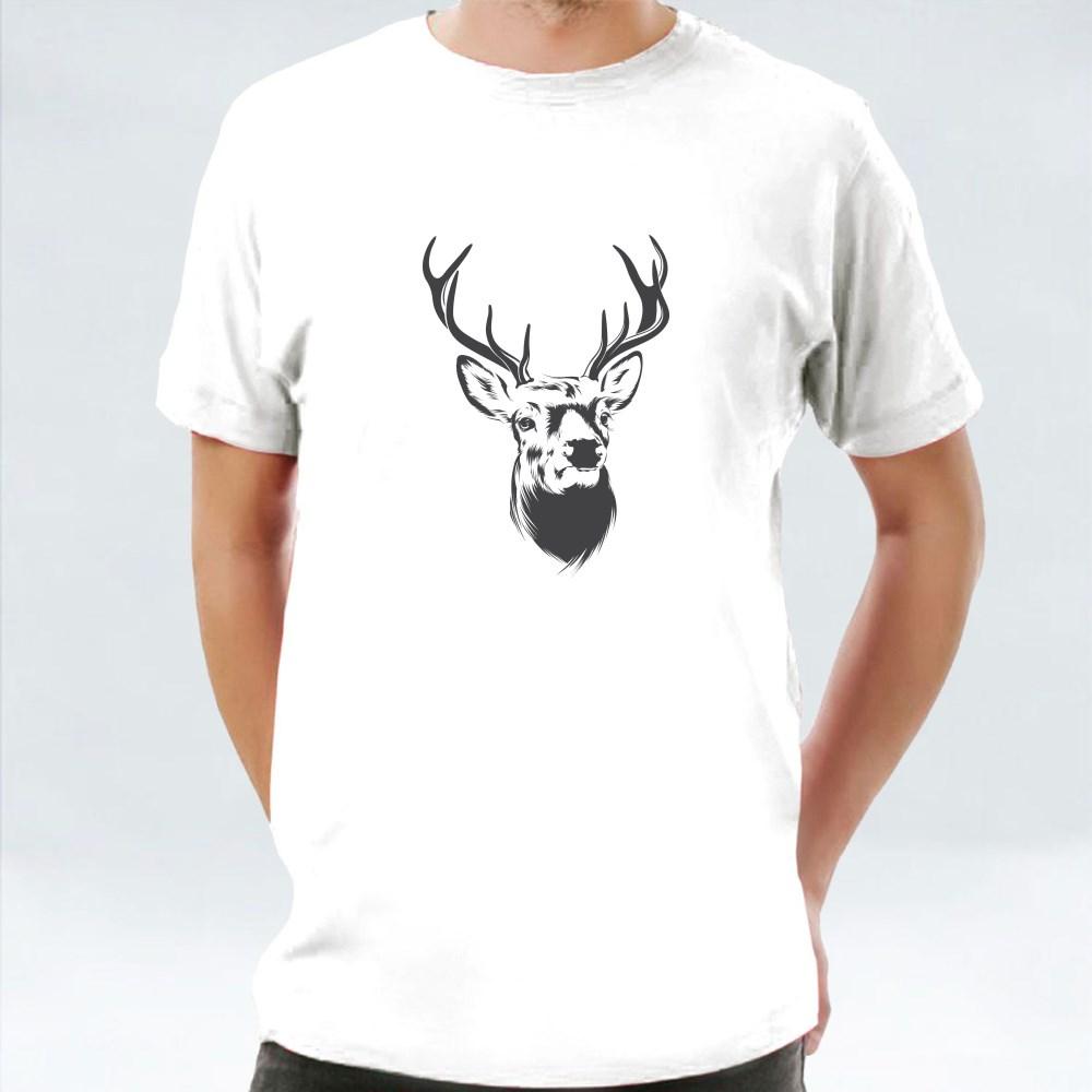 Deer Head White Background T-Shirts