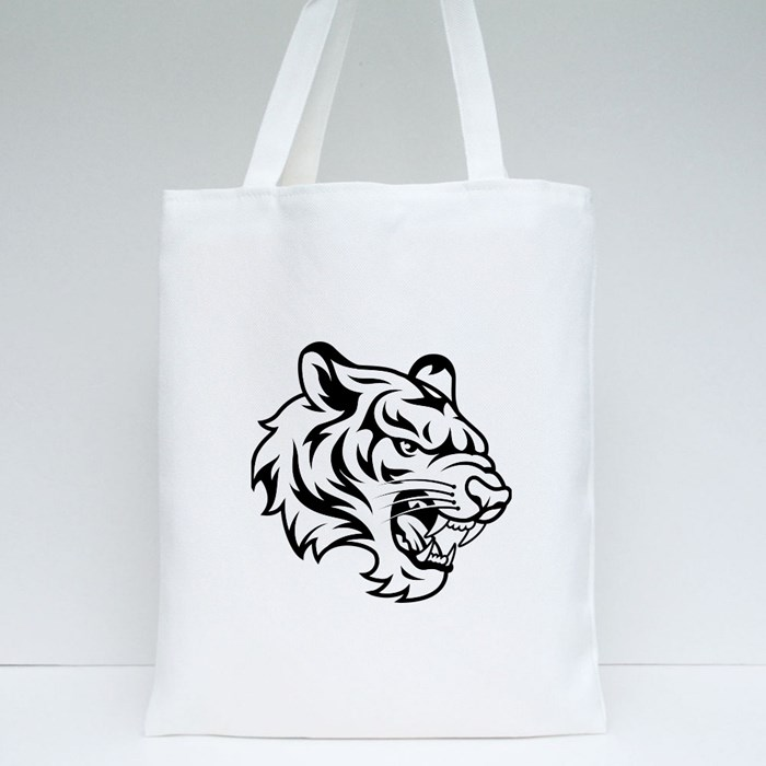 Roaring Tiger Black and White Tote Bags