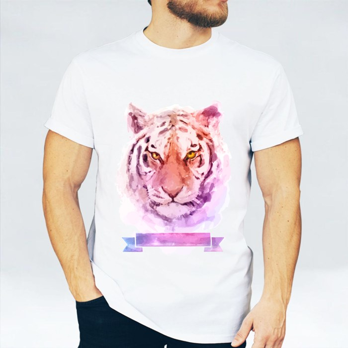 Watercolor Illustrations of Tiger T-Shirts