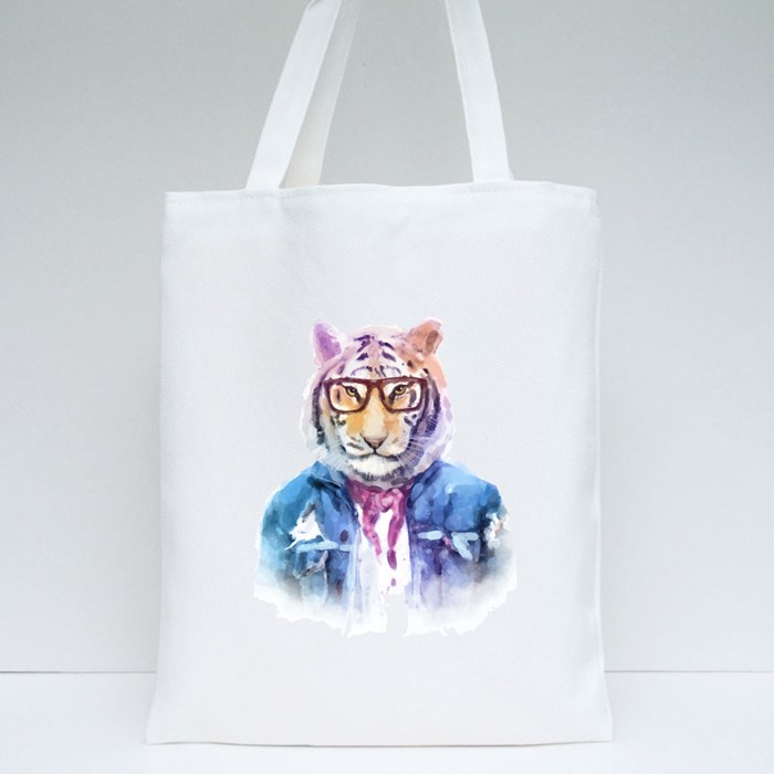Cute Fashion Hipster Animal and Pet Tiger Tote Bags