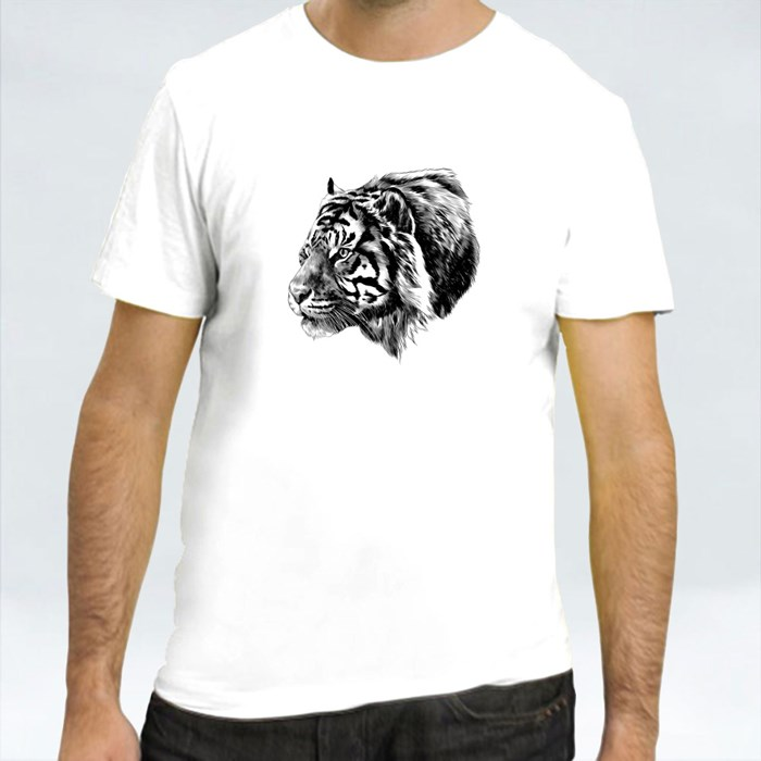 Tiger Head Sketch Black and White T-Shirts