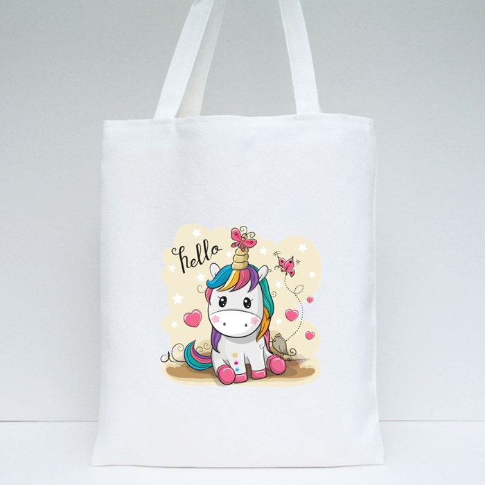 Unicorn With Butterflies Tote Bags