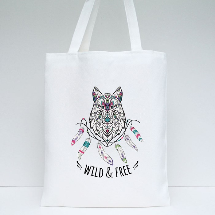 Wolf With Ethnic Ornaments Tote Bags