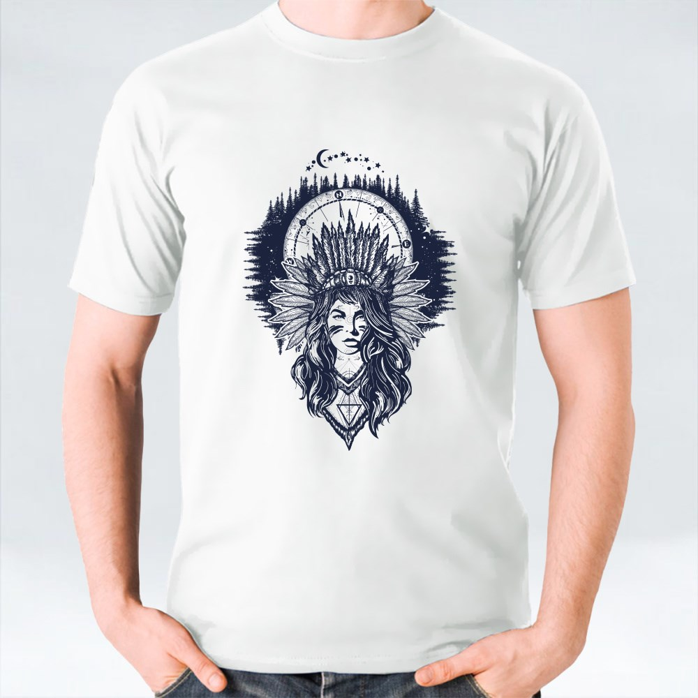 Native American Woman and Compass Tattoo Art T-Shirts