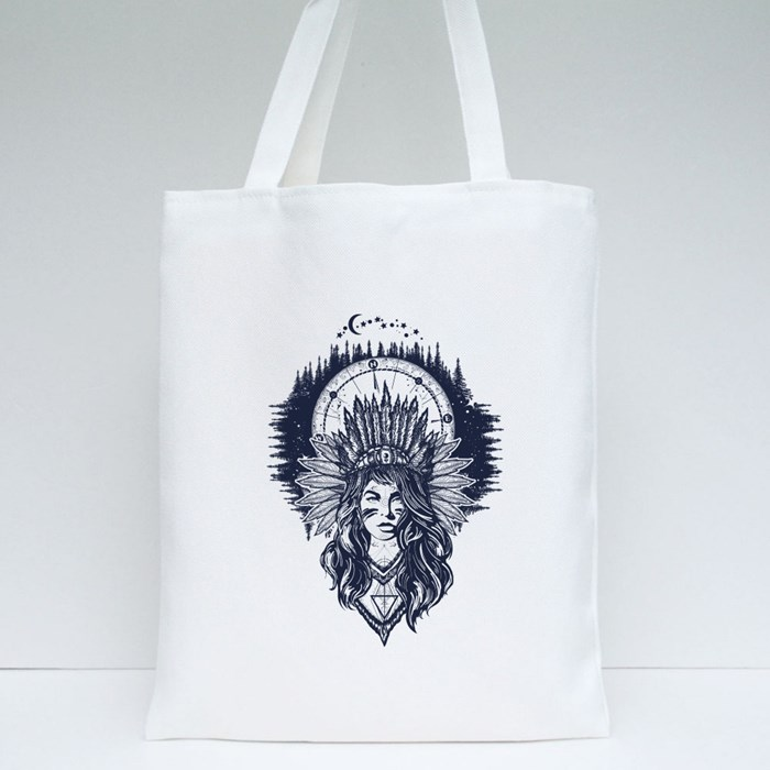 Native American Woman and Compass Tattoo Art Tote Bags