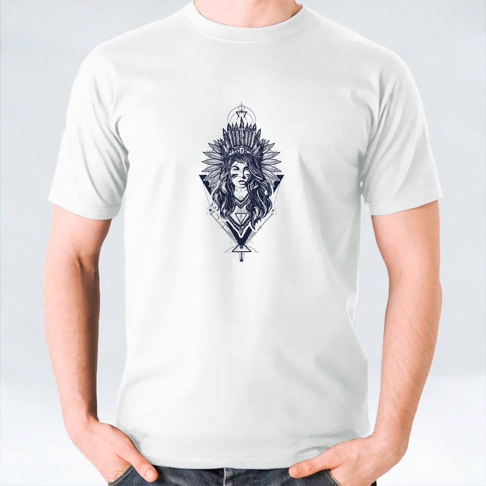 Woman American Indian Blcak White T-Shirts