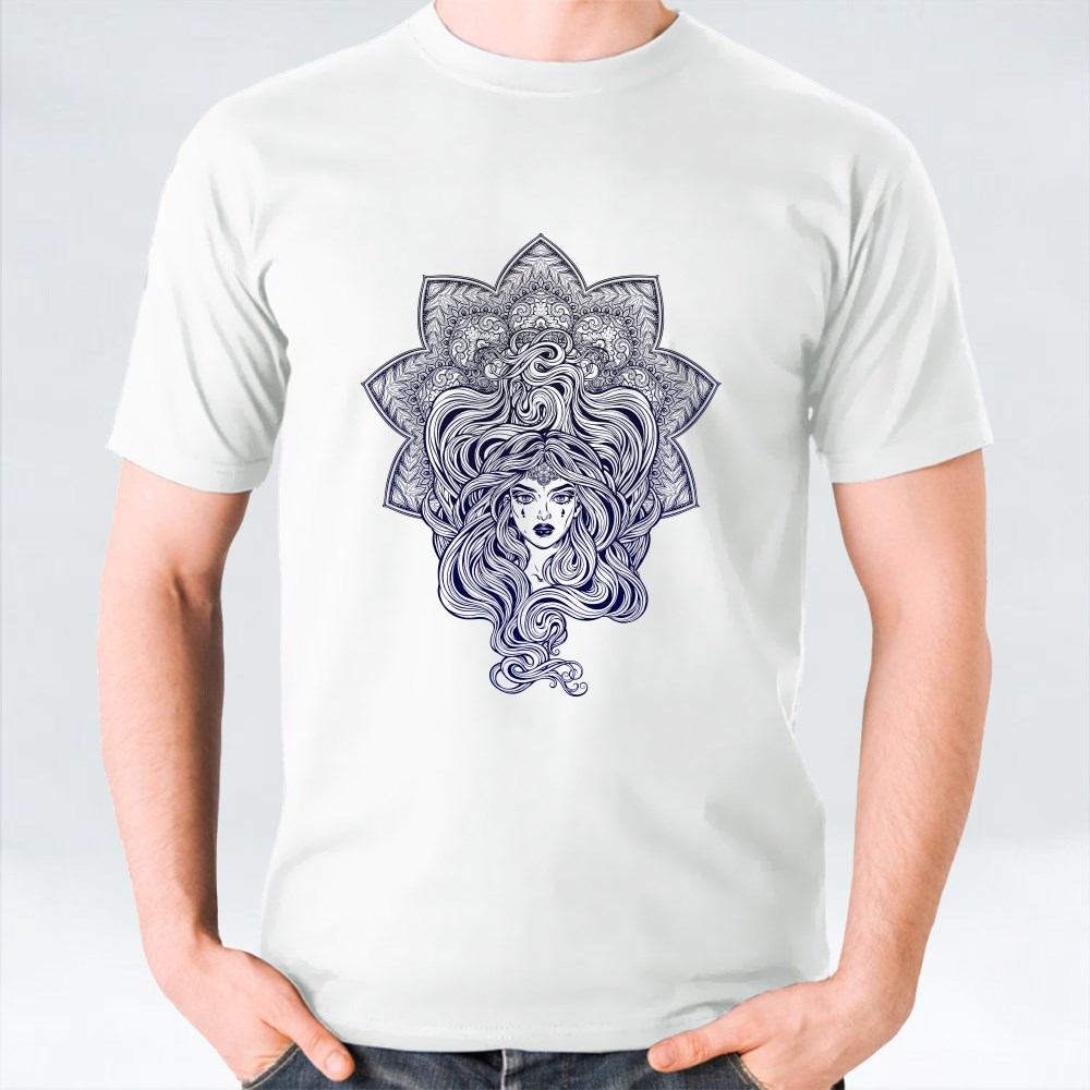 Beautiful Girl Mandala Shape T-Shirts