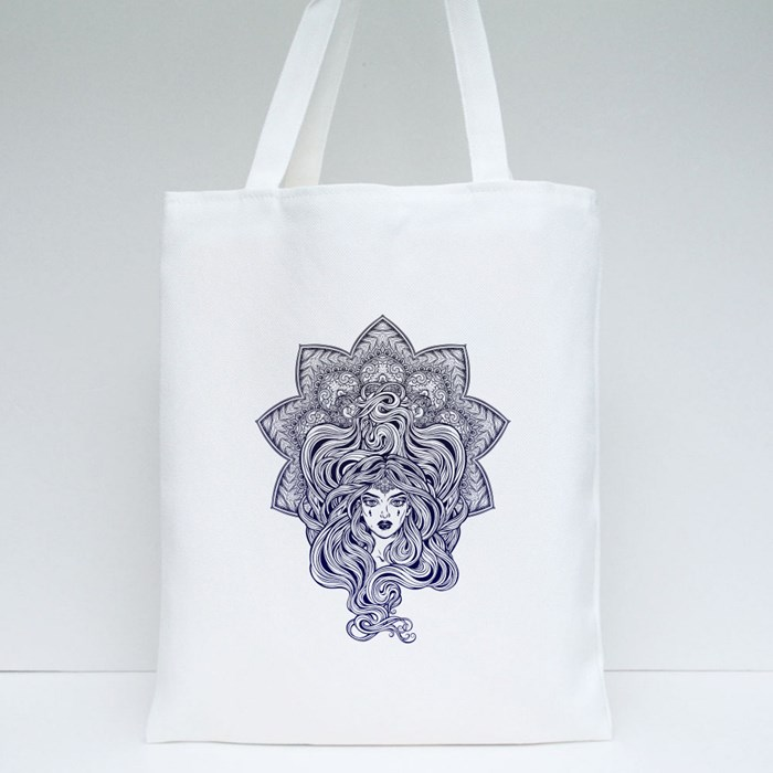 Beautiful Girl Mandala Shape Tote Bags