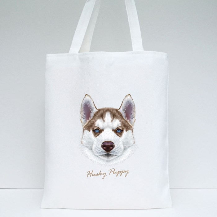 Husky Puppy Tote Bags
