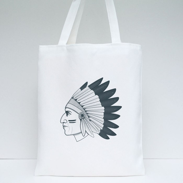 Chief Headdress Side Head Tote Bags