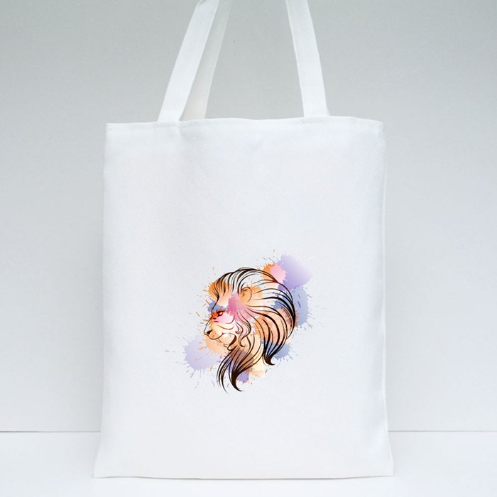 Watercolor Lion Head Tote Bags