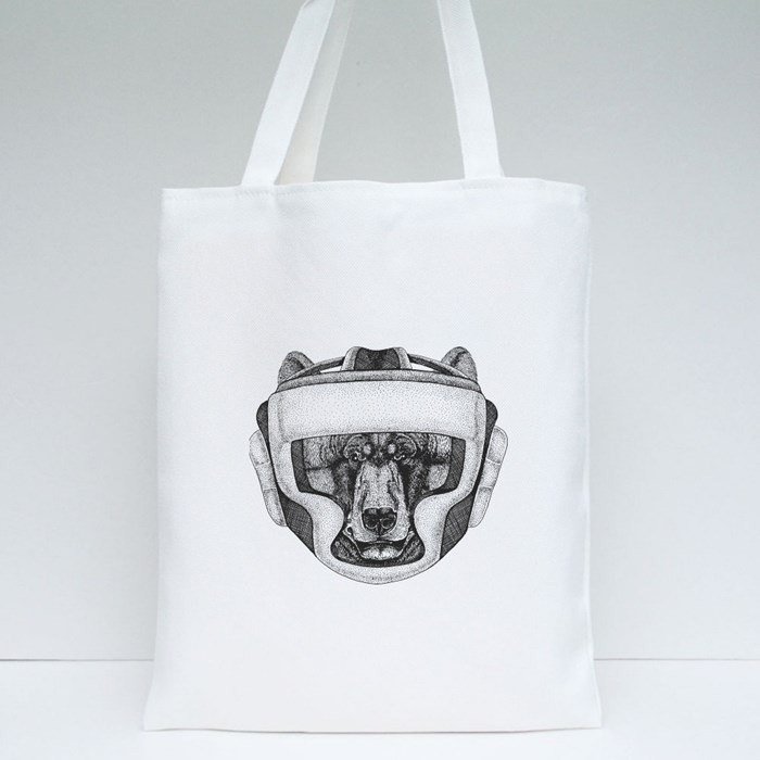 Bear Boxing Champion Tote Bags