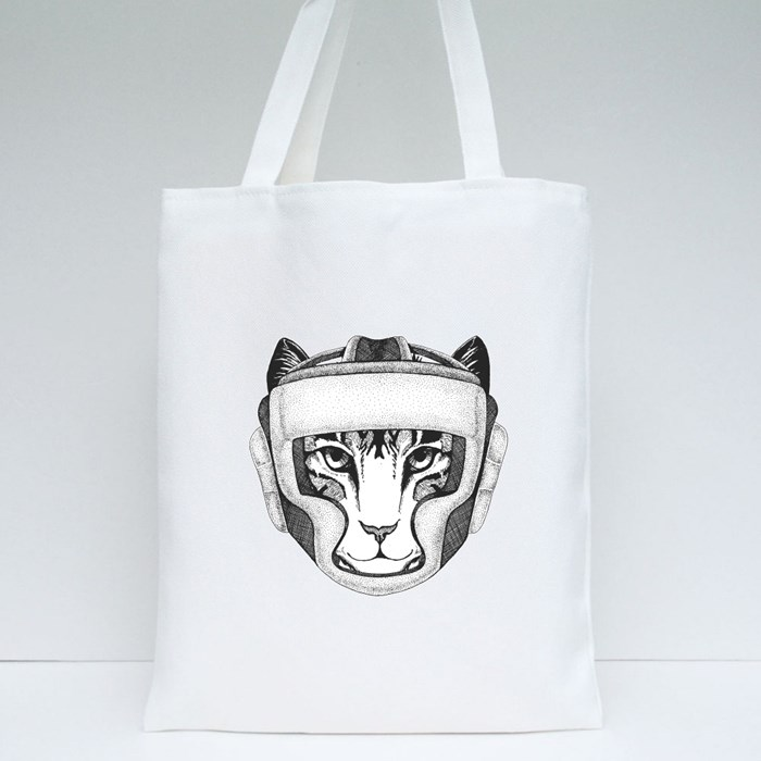 Cat Boxing Champion Tote Bags