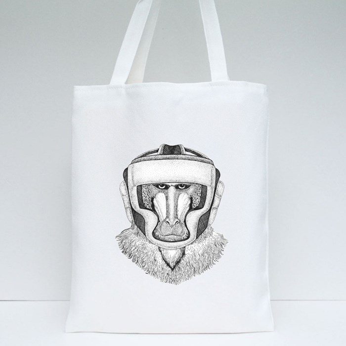 Monkey Boxing Champion Tote Bags