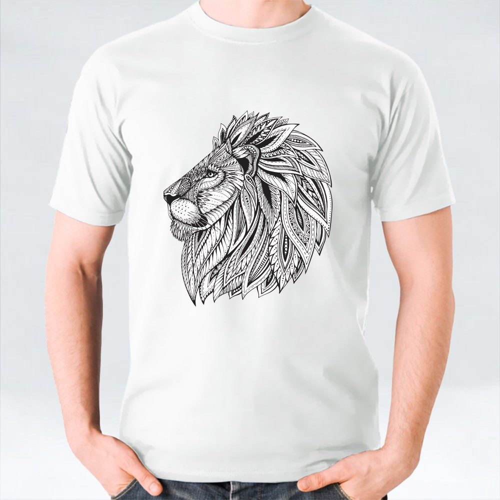 Ethnic Patterned Ornate Head of Lion T-Shirts