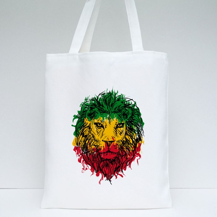 Rasta Theme With Lion Head on Black Background Tote Bags