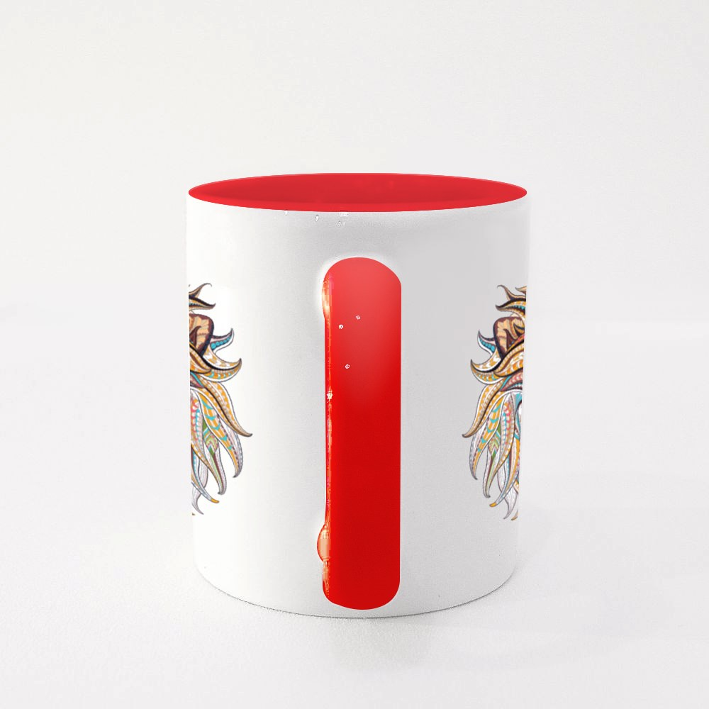 Patterned Head Of The Lion Colour Mugs