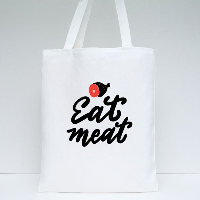 Eat Meat Tote Bags