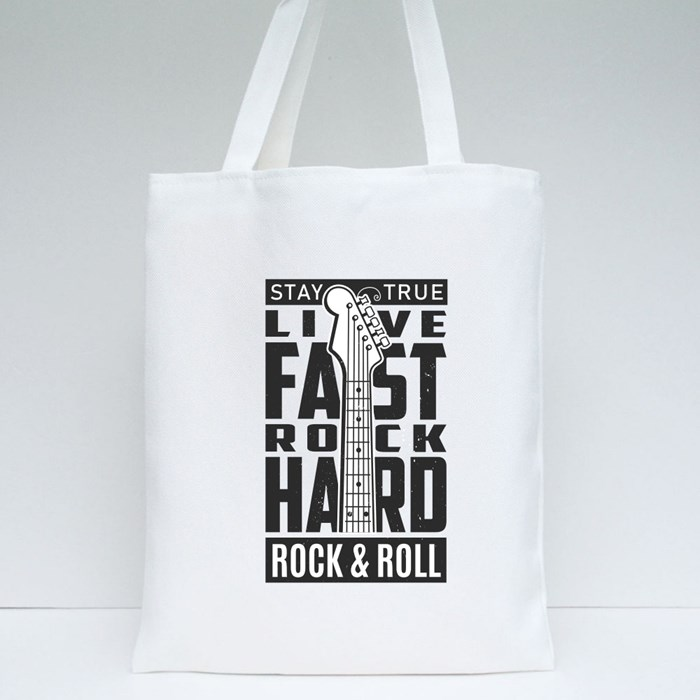 Stay True Live Fast Rock Hard Rock and Roll 1 Tote Bags