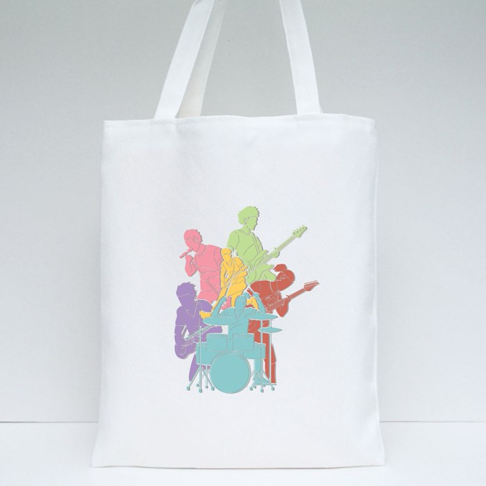 Musician Playing Music Together Tote Bags