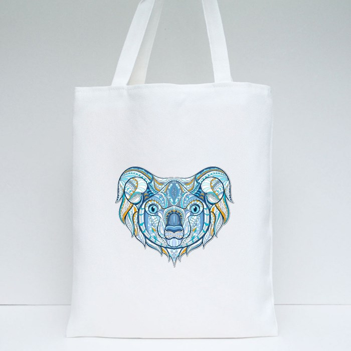 Patterned Head of Koala Tote Bags