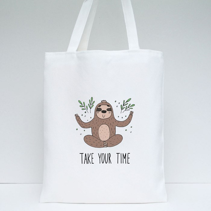 Take Your Time Sloth Tote Bags