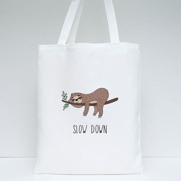 Slow Down Sloth Tote Bags