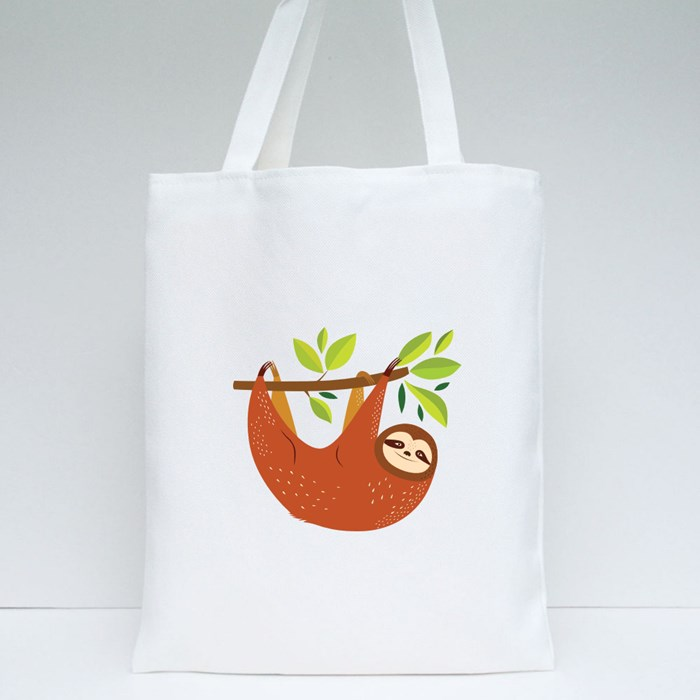 Colorful Leaves Sloth Tote Bags