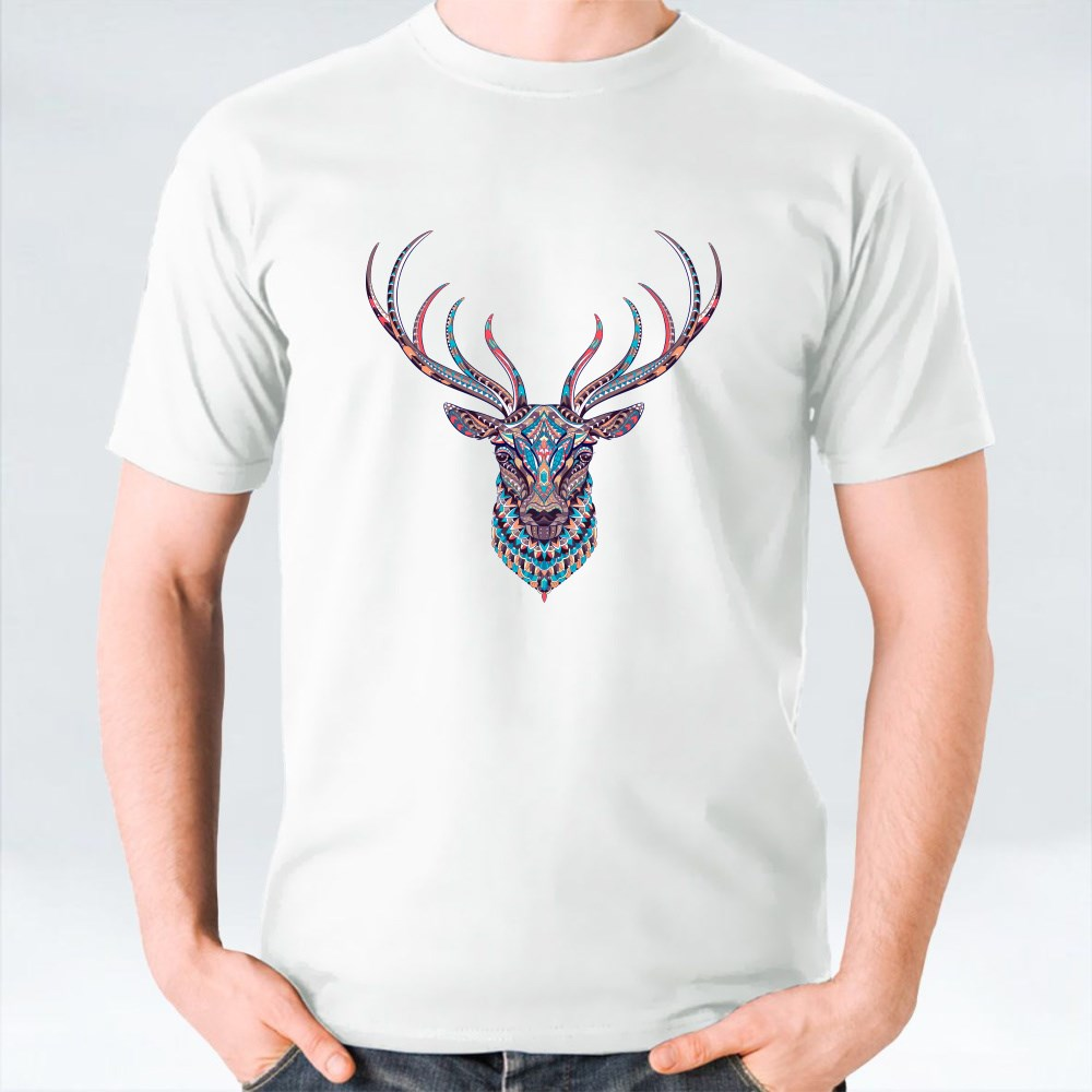 Patterned Head of the Deer T-Shirts