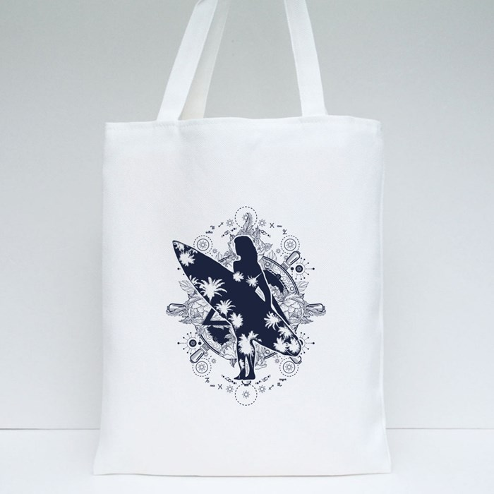 Girl With Surfboard Tote Bags