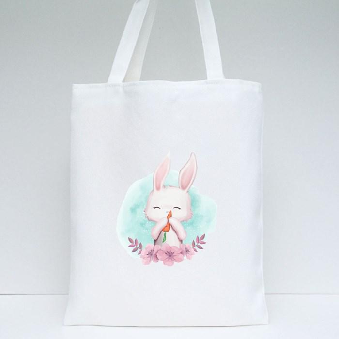 Baby Rabbit Carrot Watercolor Tote Bags