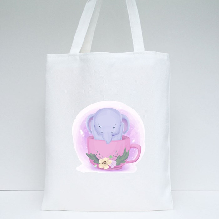 Baby Elephant Cup Tote Bags