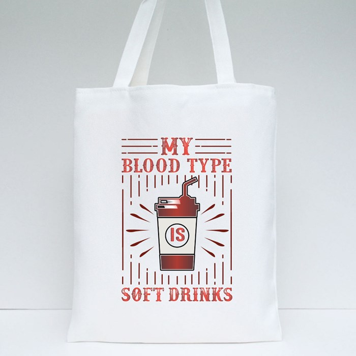 My Blood Type Is Soft Drinks Tote Bags