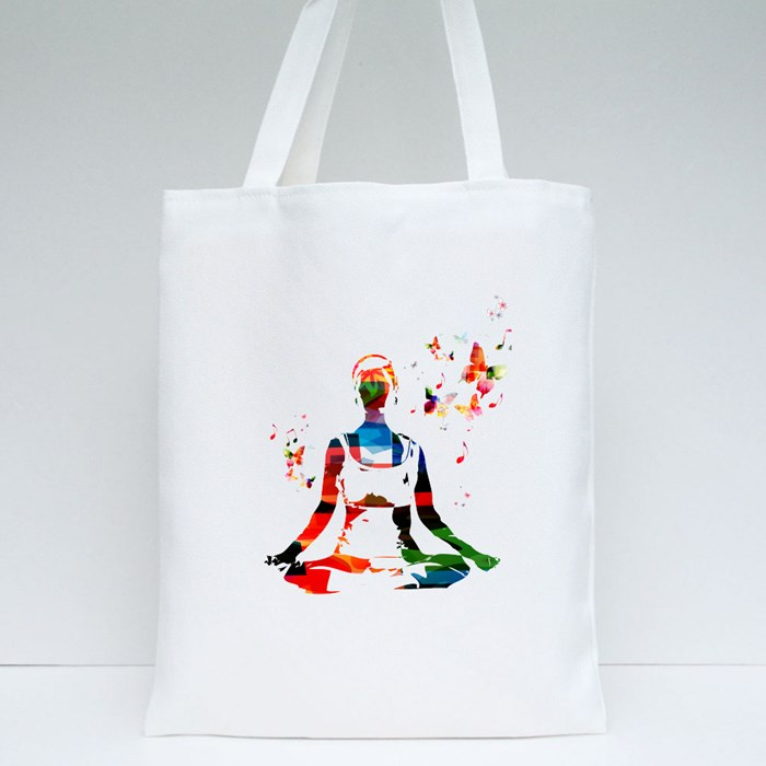 Vector Woman in the Yoga Pose Background With Butterflies Tote Bags