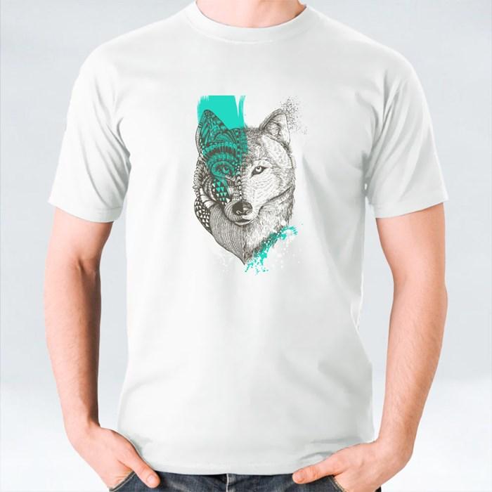 Zentangle Stylized Wolf With Paint Splatters T-Shirts