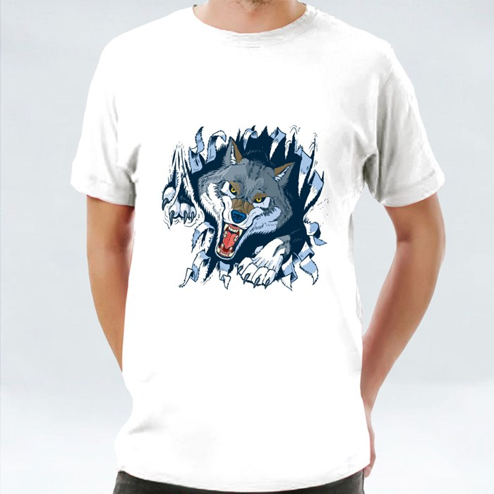 Angry Gray or Timber Wolf Mascot Ripping 1 T-Shirts