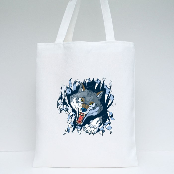 Angry Gray or Timber Wolf Mascot Ripping 1 Tote Bags