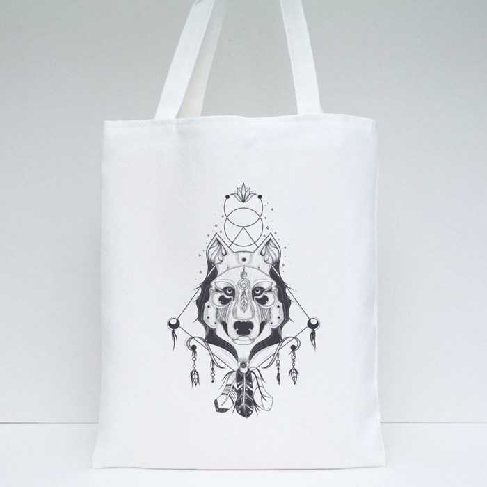 Vector Illustration of a Front View of a Wolf Head Tote Bags