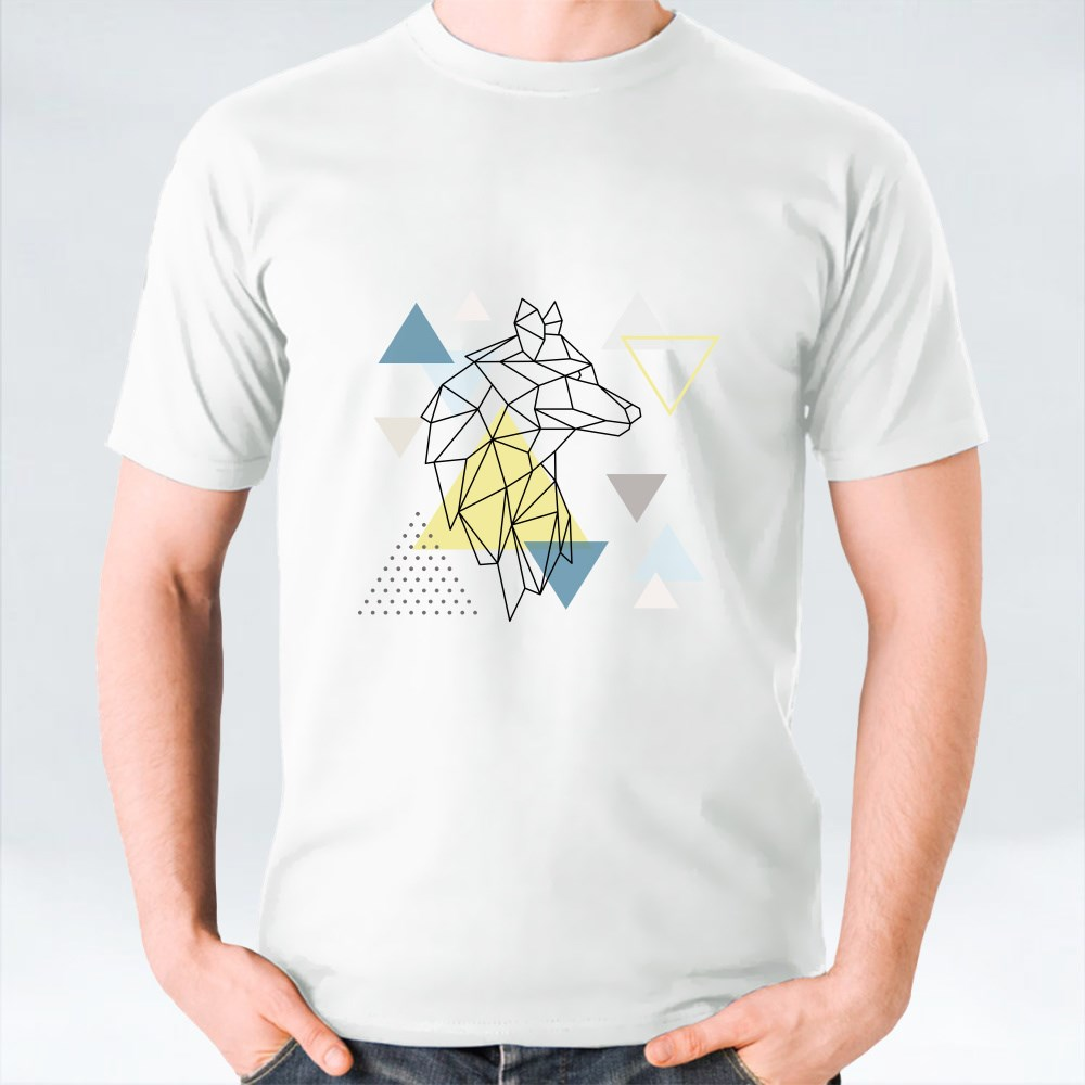 Geometric Wolf Silhouette on Triangle Background T-Shirts