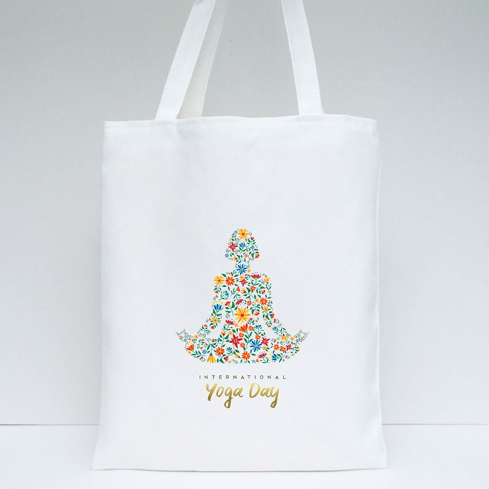 International Yoga Day Tote Bags
