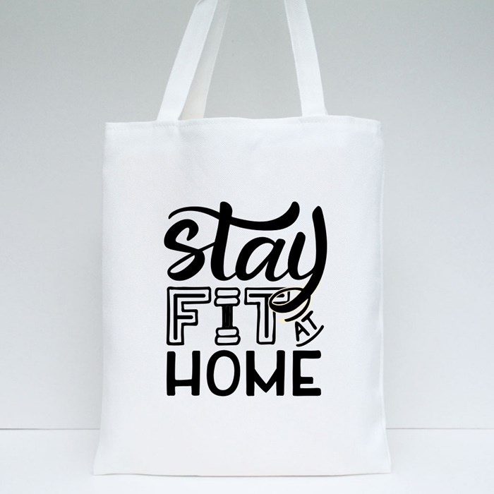 Stay Fit at Home Tote Bags