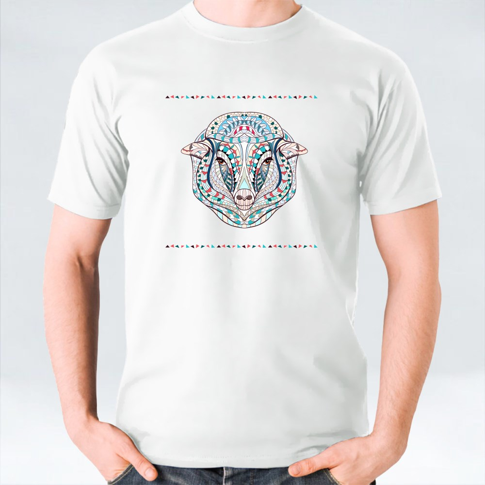 Patterned Head of Sheep T-Shirts