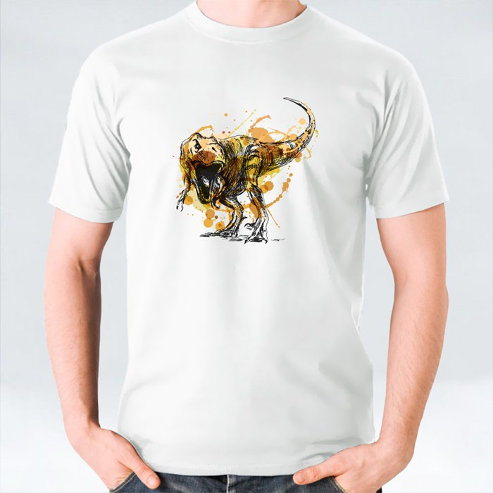 Colored Hand Sketch Tyrannosaurus T-Shirts